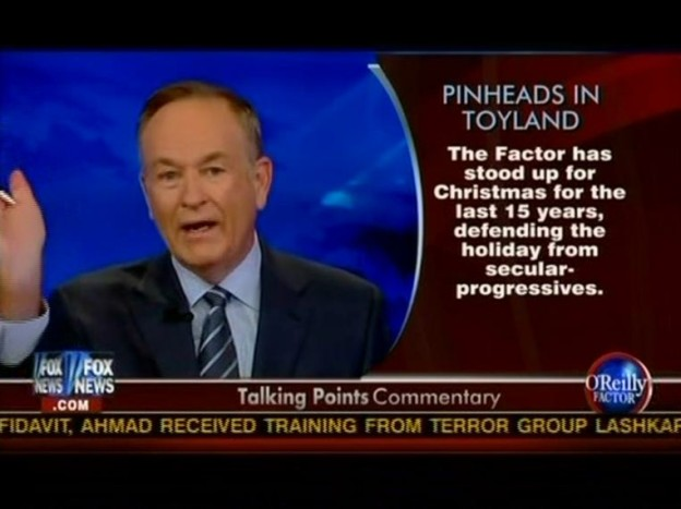 "Bill O'Reilly of Fox News has been a leading proponent of the notion that secularists are waging a ""War on Christmas."""